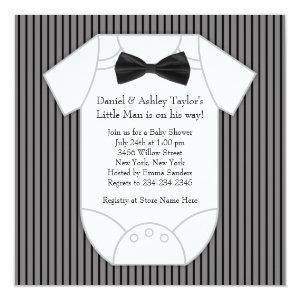 Black and White Pinstripe Baby Shower Invitation