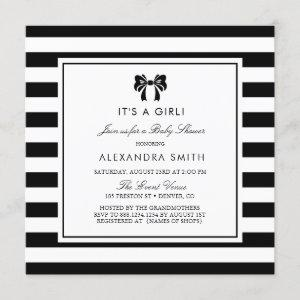 Black and White Stripes with Bow Baby Shower Invitation