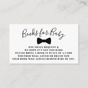 Black Bow Tie Books for Baby Book Request Card