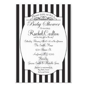 Black Paris Theme Baby Shower Invitation