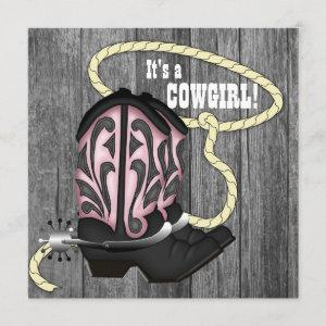Black Pink Barn Wood Cowgirl Baby Shower