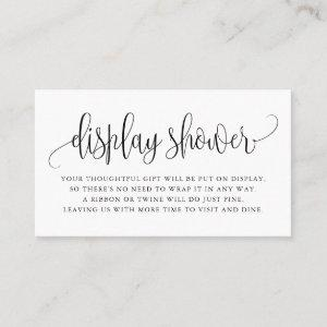 Black Pretty Script Display Shower Card