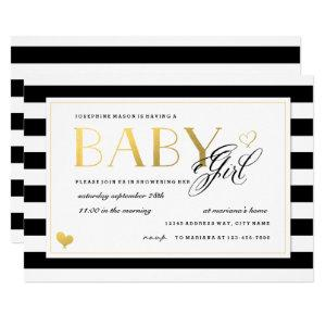 Black & White Stripe Baby Girl Shower Gold Accents Invitation