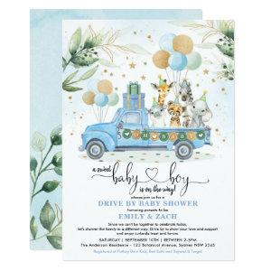 Blue and Gold Jungle Safari Drive Thru Baby Shower Invitation
