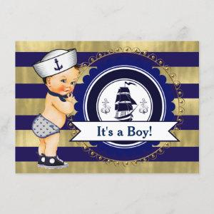 Blue and Gold Sailor Nautical Baby Shower