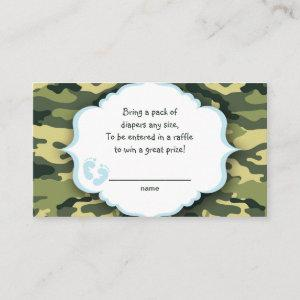 Blue and Green Camo raffle tickets or insert cards