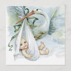 Blue and Green Stork Baby Shower