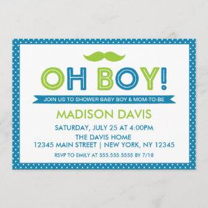 Blue and Lime Green Polka Dot Oh Boy Baby Shower