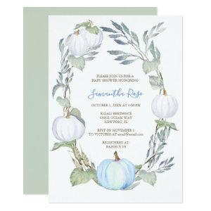 Blue and WHITE PUMPKIN Greenery BABY Shower Invite
