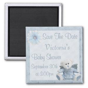 Blue Angel Teddy Bear Save the Date Baby Shower Magnet