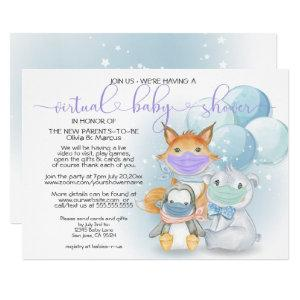 Blue Arctic Animals in Masks Virtual Baby Shower Invitation