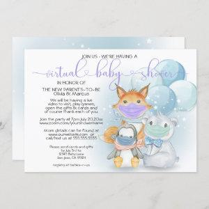 Blue Arctic Animals in Masks Virtual Baby Shower