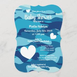 Blue army camo baby shower invitations with hearts