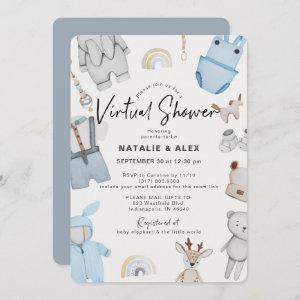 Blue Baby Clothes & Toys Boy Virtual Baby Shower Invitation