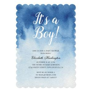 Blue baby shower. It's a boy. Watercolor modern Invitation