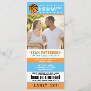 blue Basketball Ticket Couples Baby Shower Photo Invitation