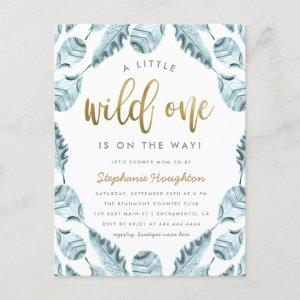 Blue Boho Feathers Gold Wild One Boy Baby Shower Invitation Postcard