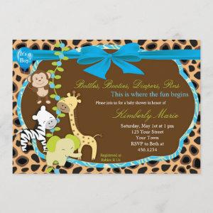 Blue Bow Jungle Baby Shower Invitation