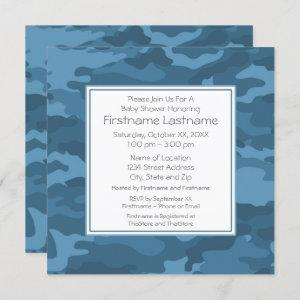 Blue Camo Baby Boy Shower or Party Invitation