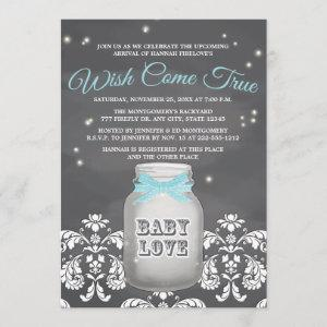 Blue Chalkboard Firefly Mason Jar Baby Shower Invitation