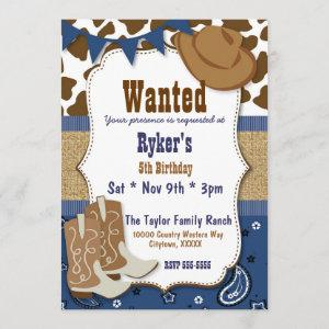 Blue Cowboy Country Western Party Invitation