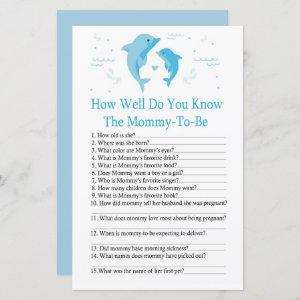 Blue Dolphin How well do you know baby shower game