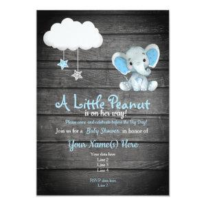 Blue  Elephant Baby Shower invitation, rustic Invitation