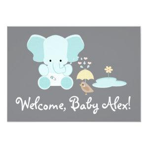 Blue Elephant Little Bird Welcome Baby Invitation