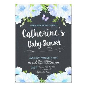 Blue Floral Baby Shower Invitations Boy