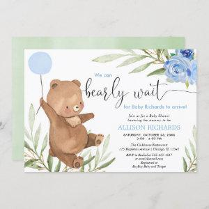 Blue floral greenery bear balloon boy baby shower invitation