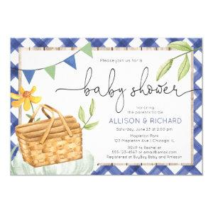 Blue gingham picnic baby shower Picnic in the park Invitation