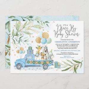 Blue Gold Drive By Safari Animals Boy Baby Shower Invitation