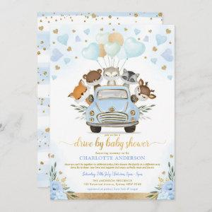 Blue Gold Greenery Woodland Drive By Baby Shower Invitation