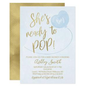 Blue Gold Ready To Pop Baby Shower Invitation