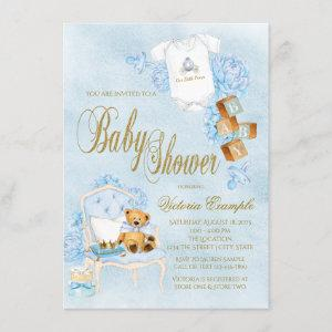 Blue Gold Watercolor Boy Baby Shower Invitation