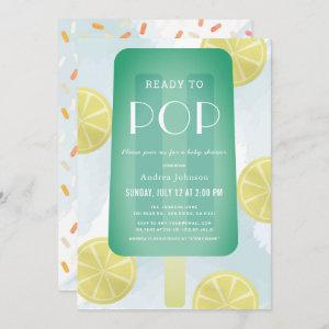Blue Green Popsicle Watercolor Boy Baby Shower Invitation