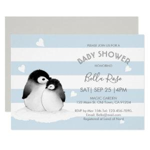 Blue Grey Penguin Baby Shower Invitations