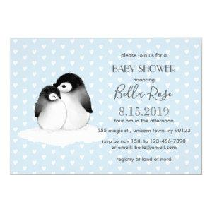Blue Grey Penguins Hearts Baby Shower Invitation