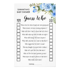 Blue Guess who baby shower bilingual game card
