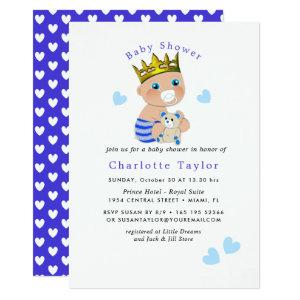 Blue Hearts Cute Prince Baby Boy Shower Invite
