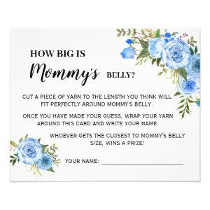 Blue How Big is Mommy Belly Baby Shower Game Card