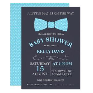Blue Little Man Bow Tie Baby Shower Invitation