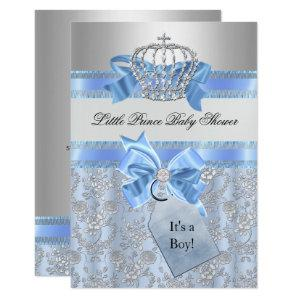 Blue Little Prince Crown Baby Shower Invitation