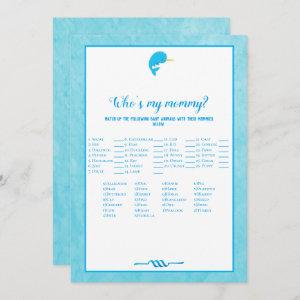 Blue Narwhal Who's My Mommy Baby Shower Game Invitation