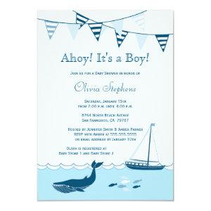 Blue nautical sailboat baby boy shower invitation