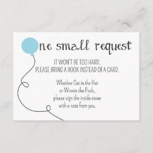 Blue Ready to Pop Baby Shower Book Request Card