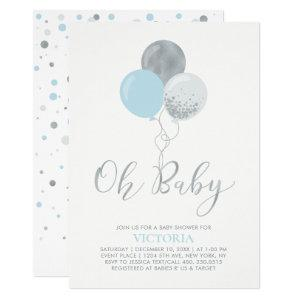 Blue & Silver Balloons | Oh Baby Boy Baby Shower Invitation