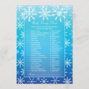 Blue Snowflake Baby Candy Baby Shower Game Invitation
