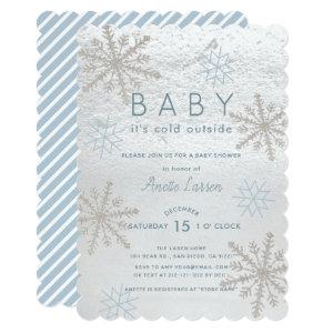 Blue Snowflake Baby Its Cold Outside Baby Shower Invitation