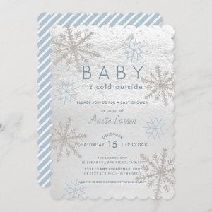 Blue Snowflake Baby Its Cold Outside Baby Shower